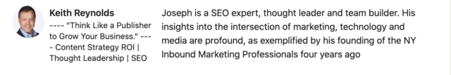 Joseph is a SEO expert, thought leader and team builder. His insights into the intersection of marketing, technology and media are profound, as exemplified by his founding of the NY Inbound Marketing Professionals four years ago and recent nomination to the steering committee on the NY chapter of SEMPO
